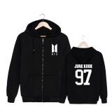 Latest Alipop Kpop Korean Fashion Bts Bangtan Boys 2017 New Album Logo Jung Kook Cotton Zipper Autumn Hoodies Zip Up Sweatshirts Pt551 Jungkook Black Intl