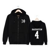 Alipop Kpop Korean Fashion Exo 4Th Album The War Cotton Zipper Autumn Hoodies Zip Up Sweatshirts Pt537 Baekhyun Black Intl On Line