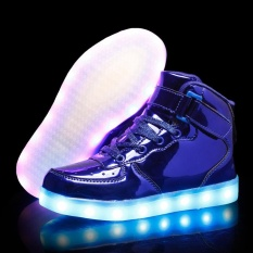 Low Cost Allwesome High Top Children Shoes Usb Charge Colorful Children Glowing Sneakers With Led Lighting Toddler Boys Girls Sports Roller Sneaker Intl