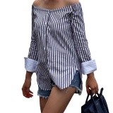 Best Deal Amart Fashion Autumn Women Off Shoulder Long Sleeve Vertical Stripe Shirt Vintage Loose Casual Blouse Intl