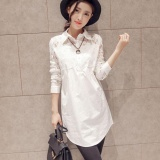 Low Cost Amart Fashion Spring Autumn Women Shirt Long Sleeve Lace Splice Loose Casual Blouse Intl