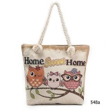 Where To Buy Amart Fashion Women Cute Owl Printed Canvas Beach Bag Casual Tote Shopping Shoulder Bag Intl