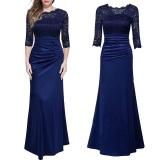 Buy Amart Fashion Women Long Dress Lace Splice Slim Elegent Ladies Wedding Party Formal Dresses Blue Intl Amart