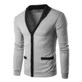 Sale Amart Korean Fashion Men Knitted Cotton Cardigan Leisure Thin Splice Buttons Sweater Knitwear Tops Light Grey Intl Amart