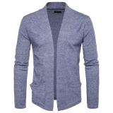 Where To Buy Amart Korean Fashion Men Splicing Knitted Cardigan Long Sleeve Slim Fit Tops Coat Light Grey Intl