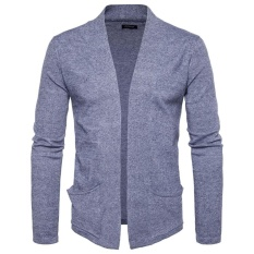 Buy Amart Korean Fashion Men Splicing Knitted Cardigan Long Sleeve Slim Fit Tops Coat Light Grey Intl Online China