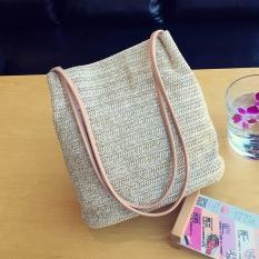 Lowest Price Amart Korean Fashion Vintage Women Messenger Bag Handmade Straw Woven Magnetic Buckle Handbag Intl