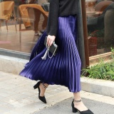 Sale Amart Korean Fashion Women Pleated Swing Midi Skirt Elastic Waist Flared Skater Long Skirts Blue Intl China