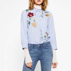 Top Rated Amart Korean Fashion Women Shirt Long Sleeve Flowers Embroidery Tops Turn Down Collar Casual Blouse Striped Tops Intl