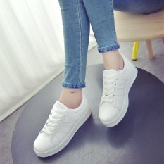 Purchase Amart Korean Fashion Women Shoes Flat Pu Leather Board Shoes Casual Shoes White Intl