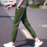 Latest Amart Korean Simple Fashion Men Pants Slim Straight Casual Trousers Green Intl
