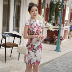 8a888cb7d 2019 New Style Summer Wear Daily Life Vintage Cheongsam Improved Slim Fit  Short White Background Titoni