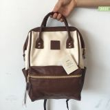 Anello Original Japan Unisex Backpack New Faux Leather Ivoryxbrown With Backzip Mini Size Best Buy