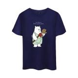 Discount Animated Sitcom We Bare Bears Cotton T Shirt Tee Shirt T Shirt Short Sleeve Sleeve Men Women Funny Tee The Three Bare Bears Navy Blue Intl