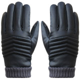 Price Anti Slip Men Thermal Winter Sports Leather Touch Screen Gloves Black Intl Oem Original