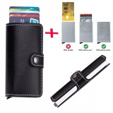Get Cheap Anti Theft Men Leather Wallet With Mini Rfid Wallets Automatic Business Blocking Travel Card Holder Pop Up Case Credit Card Protector Case Black Intl