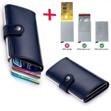Latest Anti Theft Men Leather Wallet With Mini Rfid Wallets Automatic Business Blocking Travel Card Holder Pop Up Case Credit Card Protector Case Navy Blue Intl