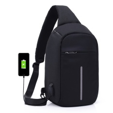 Coupon Anti Theft Waterproof Chest Pack Reflective Shoulder Bags Handbags Business Basual Canvas Bag With Usb Interface Intl