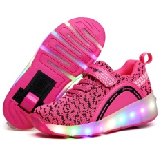 Retail Price Aptesol Kids Girls Boys Led Light Up Single Wheels Roller Shoes Skates Sneakers Pink 27 Intl