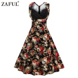 Arrival Summer Style Retro Floral Printed Dress Woman Sleeveless Big Hem V Neck S*xy Dress Intl Deal