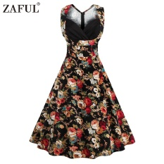 Arrival Summer Style Retro Floral Printed Dress Woman Sleeveless Big Hem V Neck S*xy Dress Intl In Stock