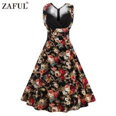 Buy Arrival Summer Style Retro Floral Printed Dress Woman Sleeveless Big Hem V Neck S*Xy Dress Intl China