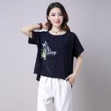 Price Women S Plus Size Cotton Linen Printed T Shirt Deep Blue Pink Red Dark Blue Dark Blue On China