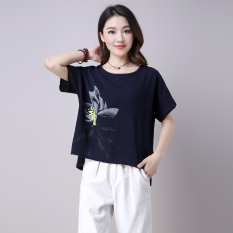 Sale Women S Plus Size Cotton Linen Printed T Shirt Deep Blue Pink Red Dark Blue Dark Blue China