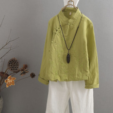 Best Price Women S Chinese Style Cotton Linen Embroidered Blouse Light Green Light Green