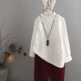 Top Rated Women S Chinese Style Cotton Linen Embroidered Blouse White White