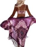 Purchase Astar Women Chiffon Print B*k*n* Cover Up Tassel Loose Long Beach Front Open Swimwear Purple Intl Online