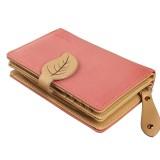 Audew Lady Women Retro Leaf Purse Zip Hit Color Clutch Wallet Leather Bag Card Holder S For Sale