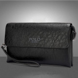 Discount Authentic Men Handbag Large Capacity Business Clutch Long Wallet Cowhide Leather Purse Black Polo On China