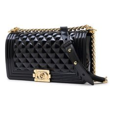 Top 10 Authentic Toyboy Jelly Pearl 25Cm Lady Bag Medium With Stainless Steel Bag Chain Stripe Black(珠光黑)金扣