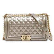 a7a32de16de5 Authentic Toyboy Jelly Pearl 25cm Lady Bag Medium with Stainless Steel Bag  Chain Stripe Champagne Gold