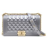 Where Can I Buy Authentic Toyboy Jelly Pearl 25Cm Lady Bag Medium With Stainless Steel Bag Chain Stripe Silver(珠光系列银灰色)金扣