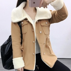 Cheap Autumn And Winter Clothes Korean Version Of The Woolen Long Section Of The Clothes Female High Sch**l Students Slim Double Breasted Thick Coat Khaki Intl