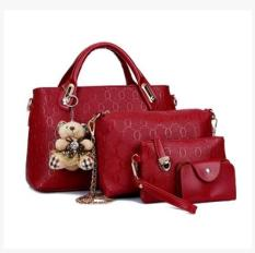 New Women S Stylist 4 Piece Bags Wine Red Color Wine Red Color