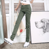 Recent Loose Women L Xiao Zhi Tong Long Pants Cotton Track Pants Dark Green Color Stretch