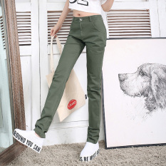 Store Loose Women L Xiao Zhi Tong Long Pants Cotton Track Pants Dark Green Color Stretch Oem On China