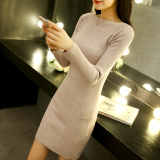 Buy Autumn And Winter Korean Style Knitted Female Mid Length Dress Thick Sweater Light Coffee Cheap On China