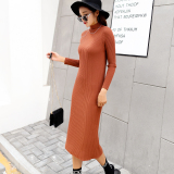 Autumn And Winter Korean Style Long Sleeved A Half High Collar Dress Base Skirt Semi High Collar Sweater Dress Caramel China