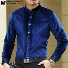 Autumn And Winter Men S Long Sleeved Shirt Blue Collar Deal