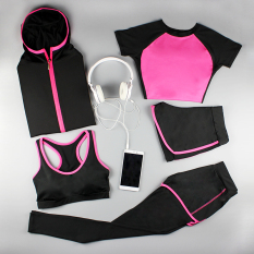 Discount Autumn And Winter Yoga Female Workout Clothes Rose Arc Five Pieces Set China
