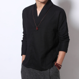 Compare Men S Chinese Style Cotton And Linen Plus Size Long Sleeves V Neck Shirt Black Black