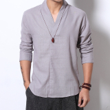 Men S Chinese Style Cotton And Linen Plus Size Long Sleeves V Neck Shirt Plain Gray Plain Gray Deal