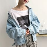 Purchase Autumn Dress Korean Style Loose To Do The Old Cardigan Jacket Top Tide Wild Bf Wind Retro Long Sleeved Denim Jacket Female Students Blue