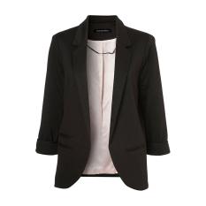Compare Autumn Fashion Women 7 Colors Slim Fit Blazer Jackets Notched Three Quarter Sleeve Blazer Black Prices