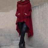 Wholesale Autumn Fashion Women Long Hooded Tops Casual Sweatshirt Sweater Asymmetric Winter Hoodie S M L Xl 4Xl 5Xl(Wine Red) Intl