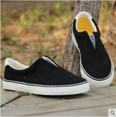 Review Loafers Plus Sized Flat Foot Covering Students Cloth Shoes G*rl S Canvas Shoes Black 07053 Oem On Singapore